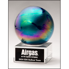 Metallic Prism-Effect Art Glass Globe Award